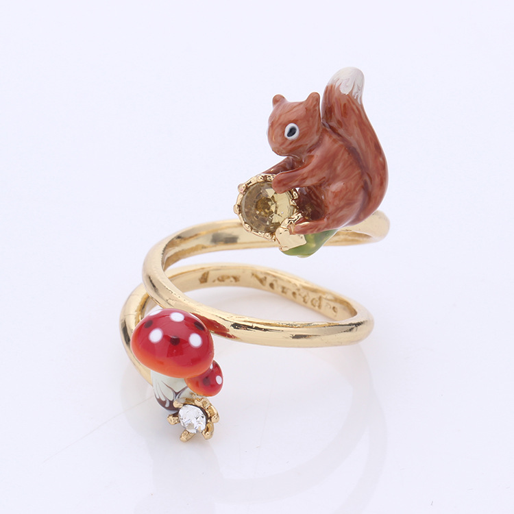 France Dyxytwe Squirrel Gem Mushroom adjustable Ring For Women Opening Rings Elegant All-match Party Jewelry chic artificial gem shell embossed ring for women