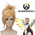 Overwatch OW Mercy Angela Ziegler Cosplay Wig Short Pale Blonde Clip Ponytail Free shipping