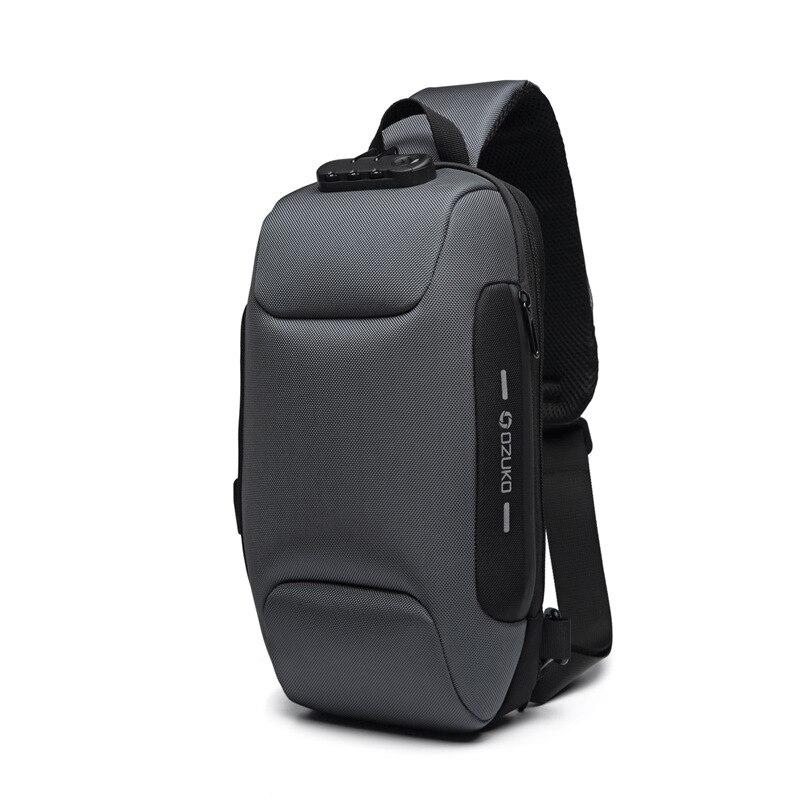 OZUKO Новая универсальная сумка через плечо для мужчин Противоугонная сумка через плечо мужская непромокаемая короткая сумка на грудь - Цвет: Серый
