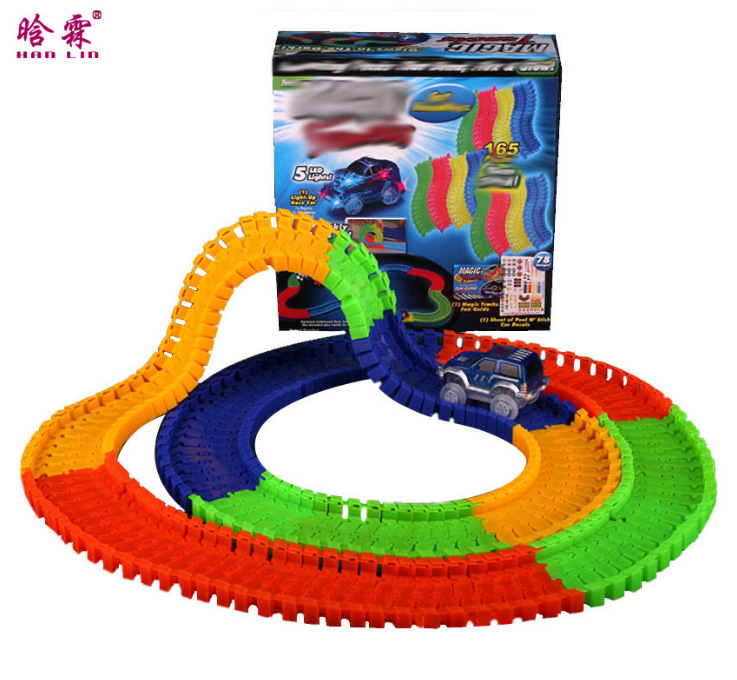 Magical Glow Racing Track Set Track Car Flexible Glowing Tracks Toy 128/150/220/360 Race Track With Gifts Box