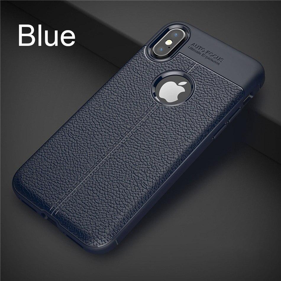 Роскошный кожаный PU силиконовый мягкий чехол для iphone 7 8 6 6s PLus X полный Чехол для iphone X Xr Xs Max противоударный бампер чехол - Цвет: Blue