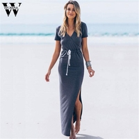 Dec 29 Amazing 2016 Summer Style V Neck Short Sleeve Waist Line Long Pencil Furcal Maxi
