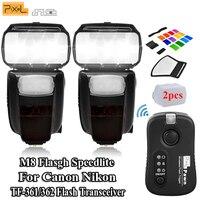 Pixel M8 2 шт. ЖК дисплей GN60 высокая производительность Беспроводной Вспышка Speedlite фонарик с TF 361/TF 362 вспышка триггера для Canon nikon DSL