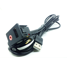 Pro 3.5mm USB AUX Headphone Male Jack Flush Mount Mounting Adapter Panel Input for Most Car Use