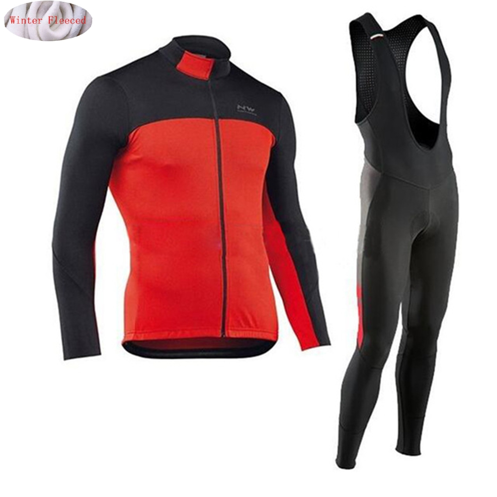 NW 2018 Cycling Winter Thermal Fleece Jersey Bicycle Cycling Bib Pants Warm Jacket Clothes MTB Bike Clothing Northwave 2017 arsuxeo mens cycling bike bicycle long sleeves jersey shirts pants wear suits uniforms top 3d bib padded c