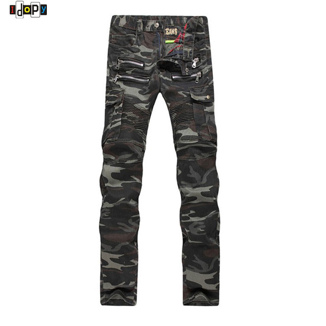 New Mens Camouflage Jeans Motorcycle Camo Slim Fit Designer Biker Jeans Denim Cargo pants With Zippers for Men