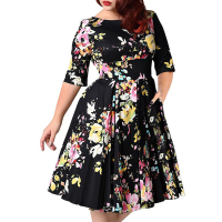 2019 Retro Large Size 7XL 8XL 9XL Women Dress Vintage Zipper Floral Print Tunic Big Swing Dress Plus Size Dresses For Women