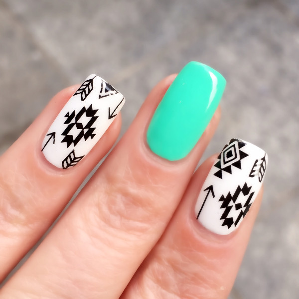 2 Patronenvel Tribal Nail Art Water Decals Aztec Nail Transfer