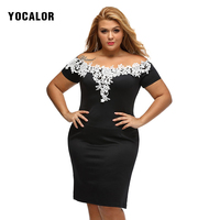 YOCALOR Short Sleeve Lace Strapless Robe Sexy Black Skater Loose Chiffon Summer Bandage Dress For Fat Dresses Big Sizes Women