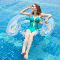 Sequin Inflatable Pool Party Swimming Float Ring Water Fun Toys Lounge Chair Air Mattress For Adult With Beer Bottle Holder