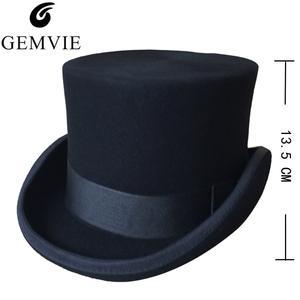 7e5cab45e39 GEMVIE Woolen Top Hats Men Women Fedoras Classical Cap