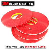 1.0MM Thick double sided acrylic foam tape vhb 4910 3M tape Color clear,12MM*33M 5ROLL/Lot