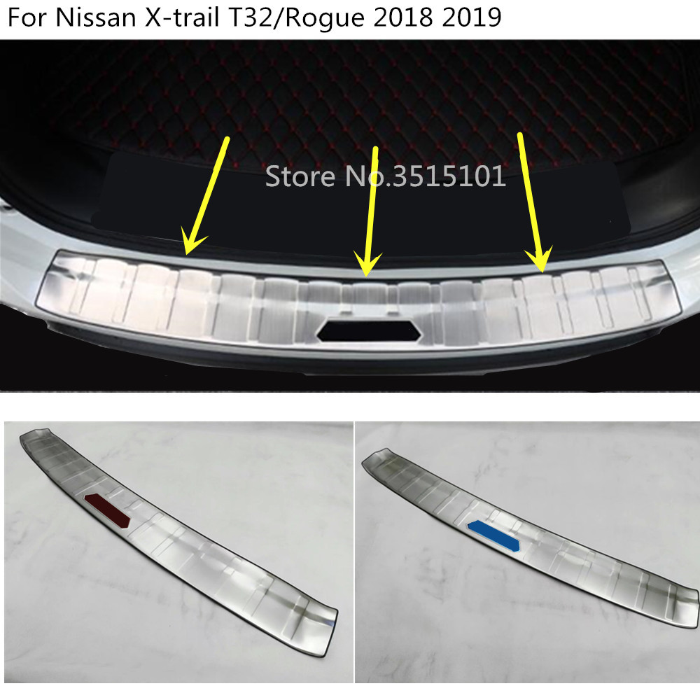 car Trim Rear Bumper Trunk Threshold Door Sill Outer Stainless Steel 1pcs For Nissan X-trail xtrail T32/Rogue 2017 2018 2019 rogue stainless steel rear bumper protector sill trunk guard cover trim for 2014 2016 nissan x trail x trail t32 car accessories