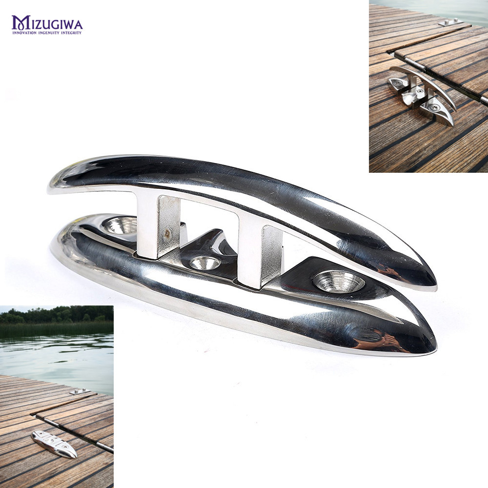 Standard 12 Inch Solid Polished Stainless Steel Heavy Duty Boat Cleat