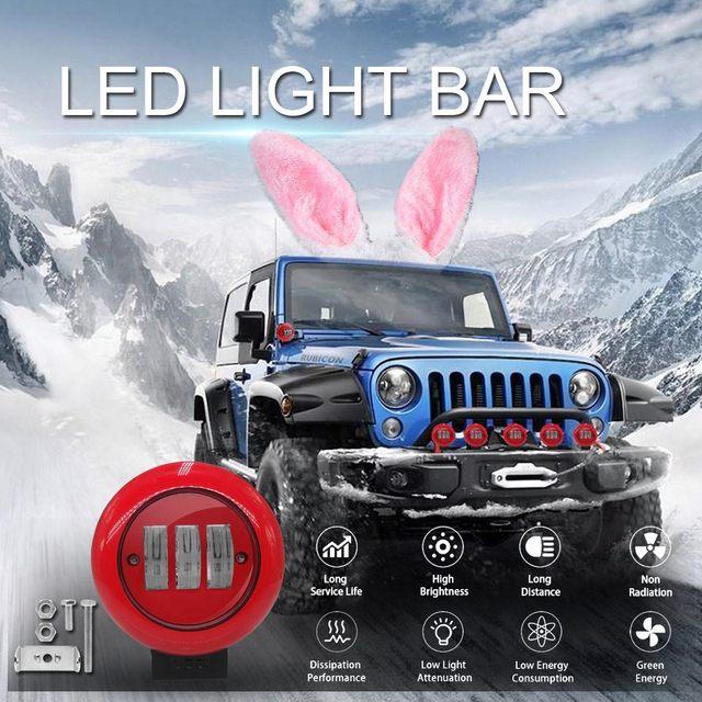Projecteur rond rouge de tache de lumière de travail de 1 pièces 30W pour le camion tout terrain tracteur SUV conduisant la lampe 4000lm Flux 6000K lumière ronde rouge de travail
