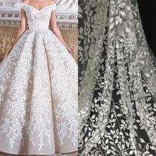 New arrival wedding lace bridal fabric tulle fashion embroidery guipure floral gown by yard