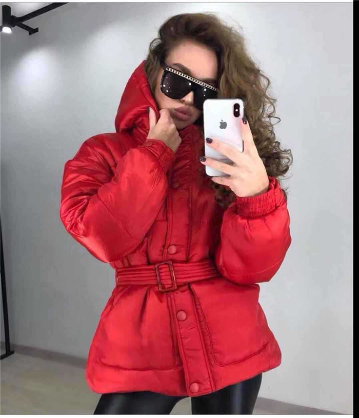 New 2018 Winter Cotton Padded Jacket Women Slim With Belt Hooded