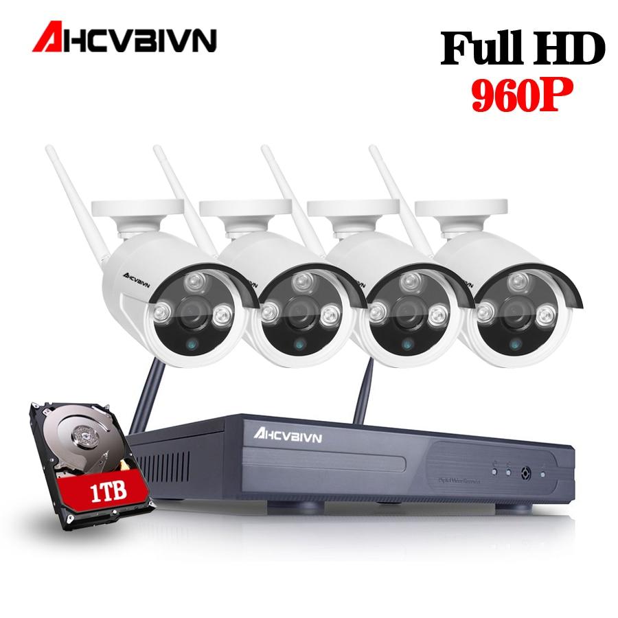 AHCVBIVN 1.3MP HD Wifi CCTV Camera System Kit 4CH Wireless NVR Kit 1080P Wifi Wireless IP Camera Security Surveillance 1TB HDD|Surveillance System|   - title=