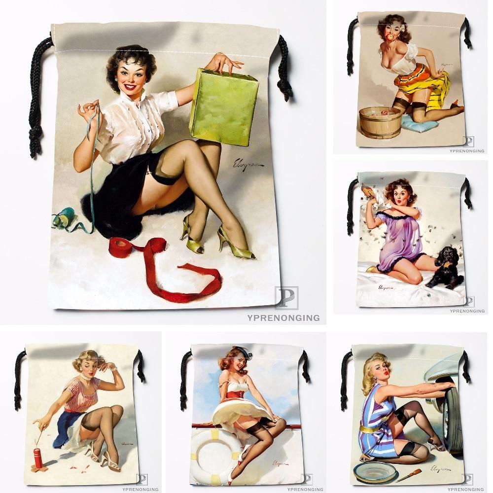 Custom Pin Up Girls Art Paintings Drawstring Bags Travel Storage Mini Pouch Swim Hiking Toy Bag