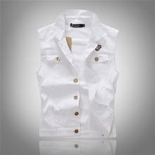 Denim vest men white color Fashion 2016 Colete jeans Hip hop Sleeveless jacket Waistcoat Mens vest colete jeans masculino M-XXL