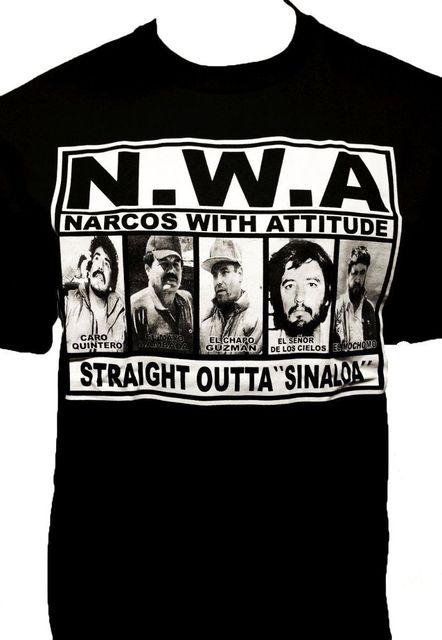 NWA Narcos con actitud camiseta cártel camiseta directamente fuera de  Sinaloa hombres mujeres camiseta tamaño europeo 958ac91b414