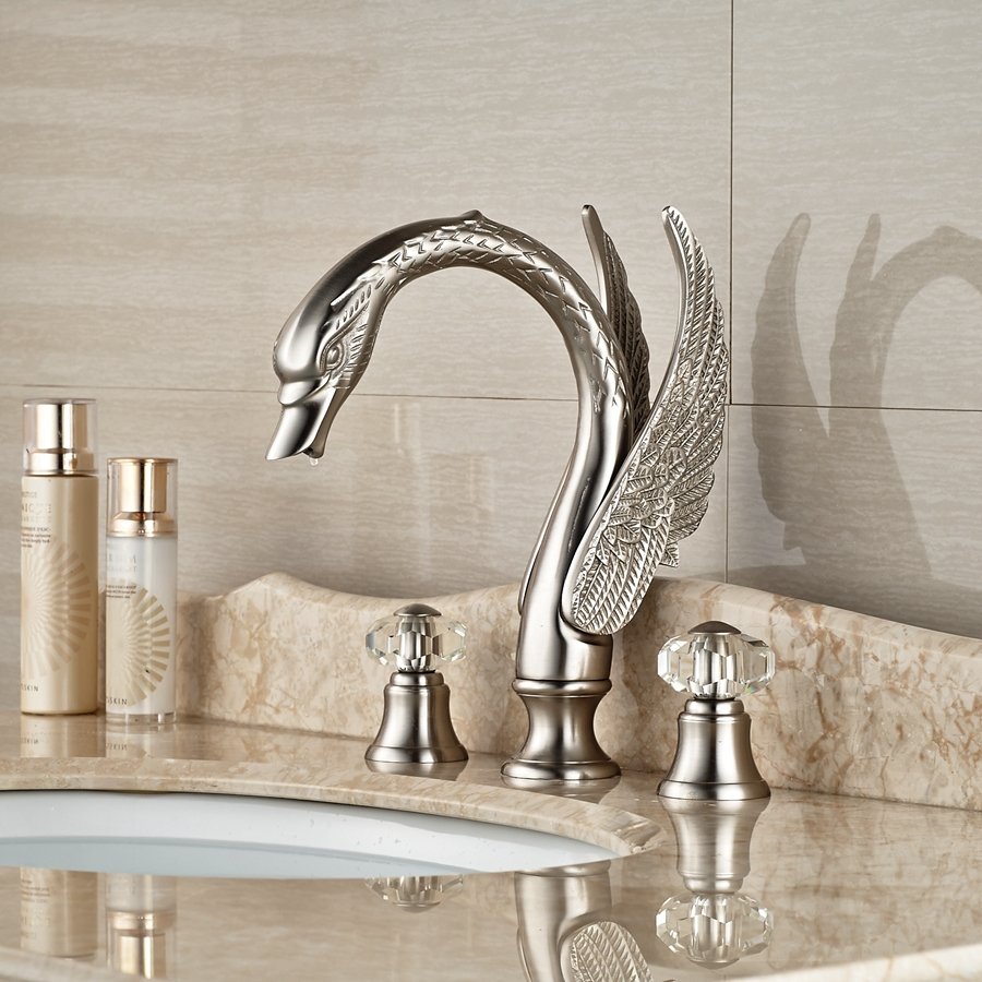 Superieur Wholesale And Retail Promotion Crystal Handles Widespread Brushed Nickel  Bathroom Faucet Vanity Sink Mixer Tap In Basin Faucets From Home  Improvement On ...