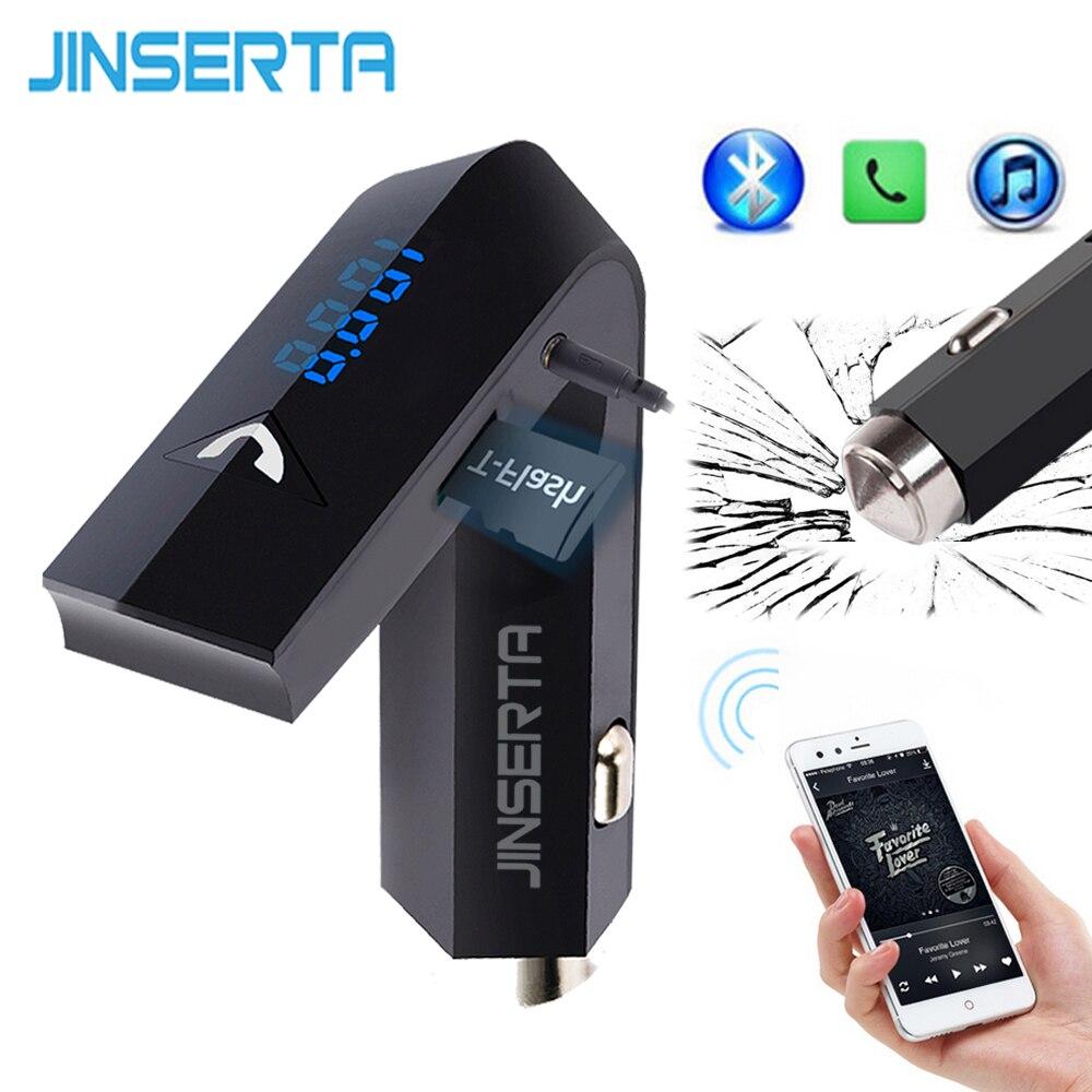 JINSERTA Car MP3 Player Bluetooth FM Transmitter Wireless Modulator Car Kit HandsFree LCD Display Safety Hammer AUX USB Charger