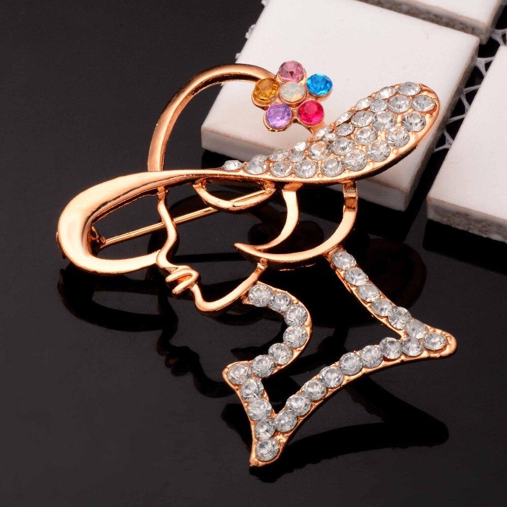 Hermosa Doble Arco y Cadena Diamante Cristal Broche Plata Metal Regalo Nuevo