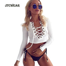 JTCWEAR Summer Sexy Woman Crop Tops Long Sleeve Deep V Neck Lace Up Ribbed Solid color Girls Belly Shirts Lady Tummy Shirts 239