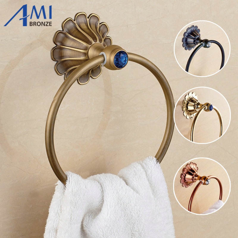 12-Petals Series Antique/Gold/Black/Rose Brass Towel Ring Wall Mounted Towel Holder