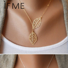 IF ME Simple European Fashion Vintage Punk Gold Color Hollow Two Leaf Leaves Pendant Necklace Clavicle Chain Charm Jewelry Women