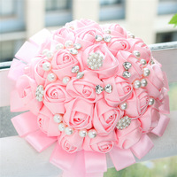 Bridal Hand Holding Wedding Bouquets Hot Pink Satin Rose Stunning Crystal Brooch Wedding Bouquets Flower