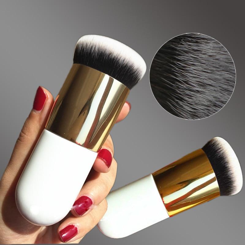 New Chubby Pier Foundation Brush Flat Cream Makeup Brushes Professional Cosmetic Make-up Brush YF2017 professional bullet style cosmetic make up foundation soft brush golden white