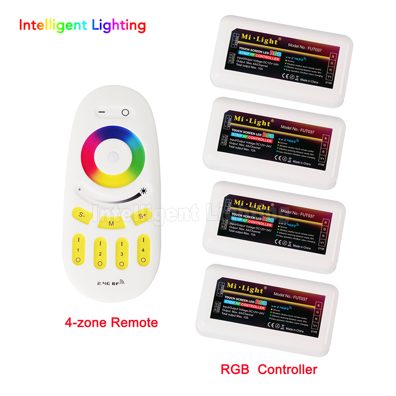 2.4g 1 x Touch RF Wireless Remote RF Controller + 4x LED RGB Controller adjustable Luminosity For 5050 & 3528 Led Strip Light mi light wifi controller 4x led controller rgbw 2 4g 4 zone rf wireless touching remote control for 5050 3528 led strip
