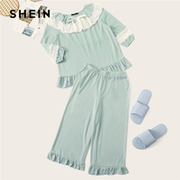 SHEIN Blue Embroidered Eyelet Trim Ruffle Lace Top and Crop Pants Lounge Set Cute Pajamas For Women 2019 Spring Solid Pajama Set