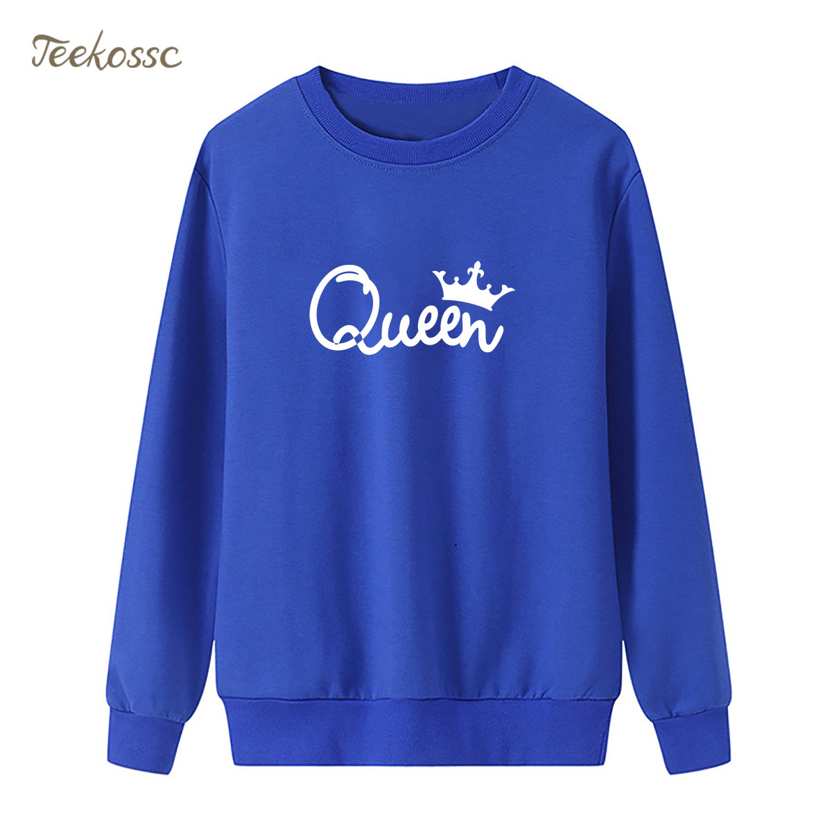 King Queen Sweatshirt Blue Casual Hoodie 2018 New Brand Winter Autumn Women Lady Pullover Fleece Warm Loose Hipster Streetwear
