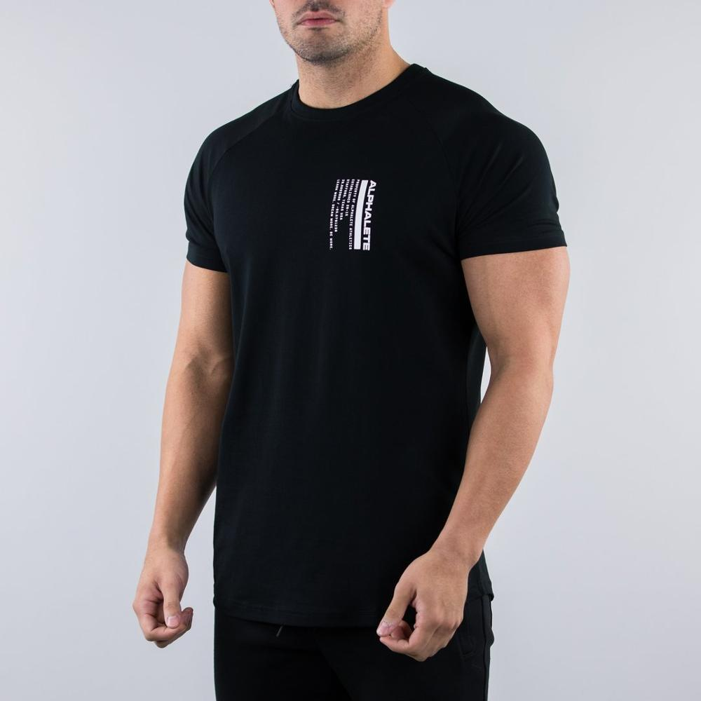 2019 New ALPHALETE Gyms Summer Fashion Men's T Shirt Casual Short Sleeve T Shirt Mens Clothing Trend Casual Slim Fit Fitness Top