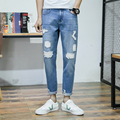 spring summer Jeans Men Ripped DistressedJeans For Man Slim Casual Blue Pencil Pants Popular Male Motorcyce Mens Stretch Jeans