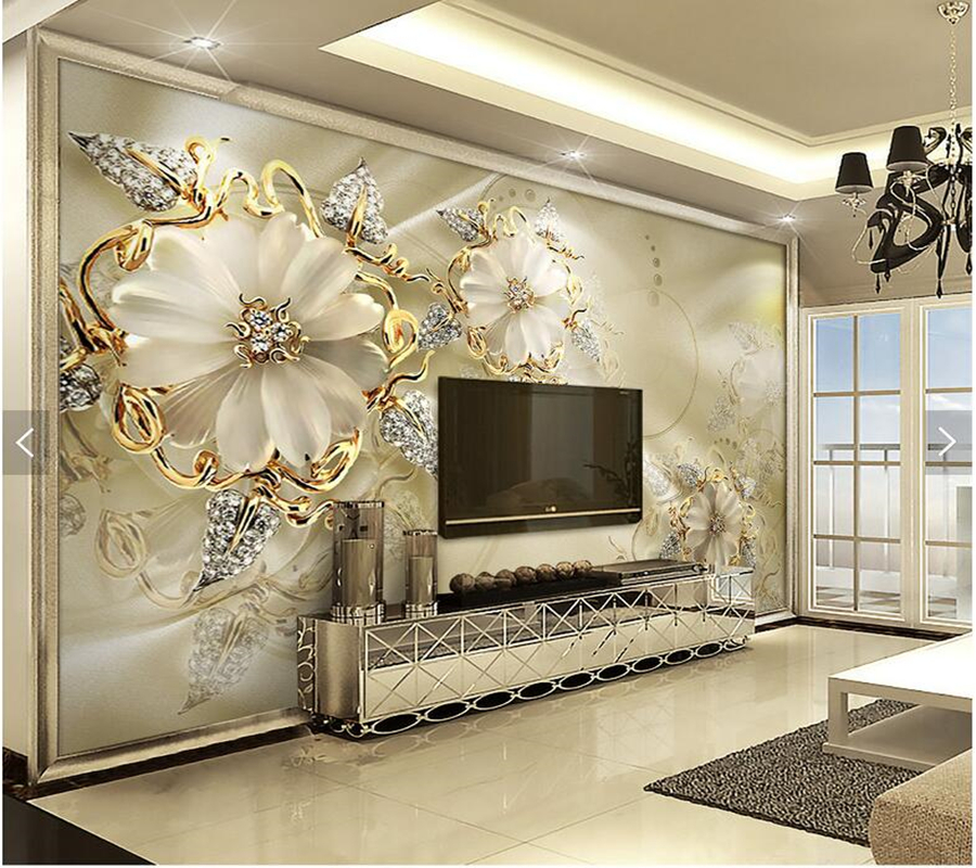 Custom papel de parede 3d,golden jewelry flower murals for living room bedroom dining room TV backdrop decorative silk wallpaper book knowledge power channel creative 3d large mural wallpaper 3d bedroom living room tv backdrop painting wallpaper
