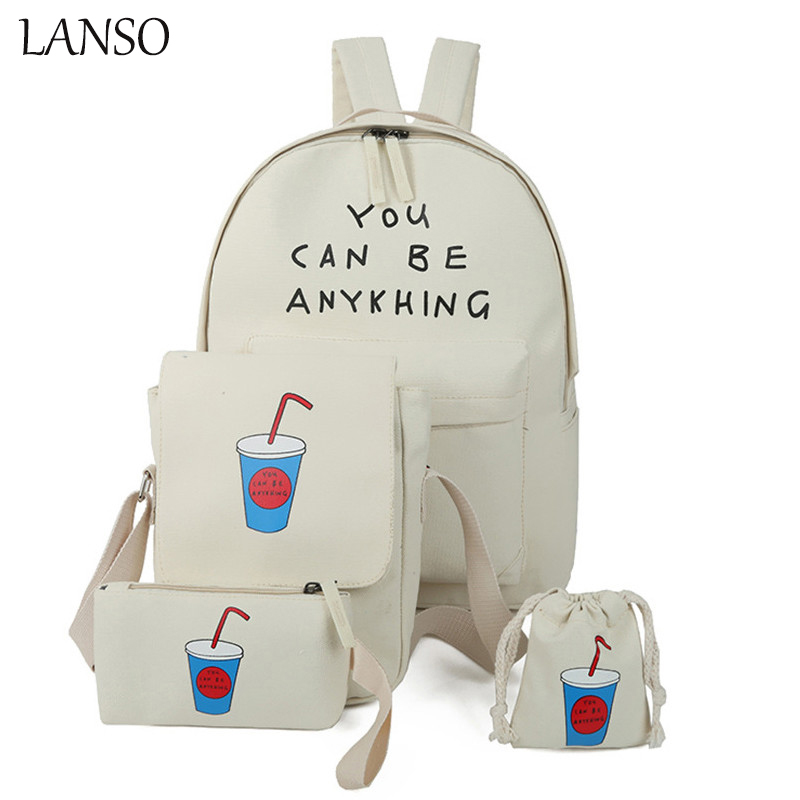 New Arrival Coke 4 in 1 Canvas Bag Multi Functional Casual Female Bag Student Backpack Coin