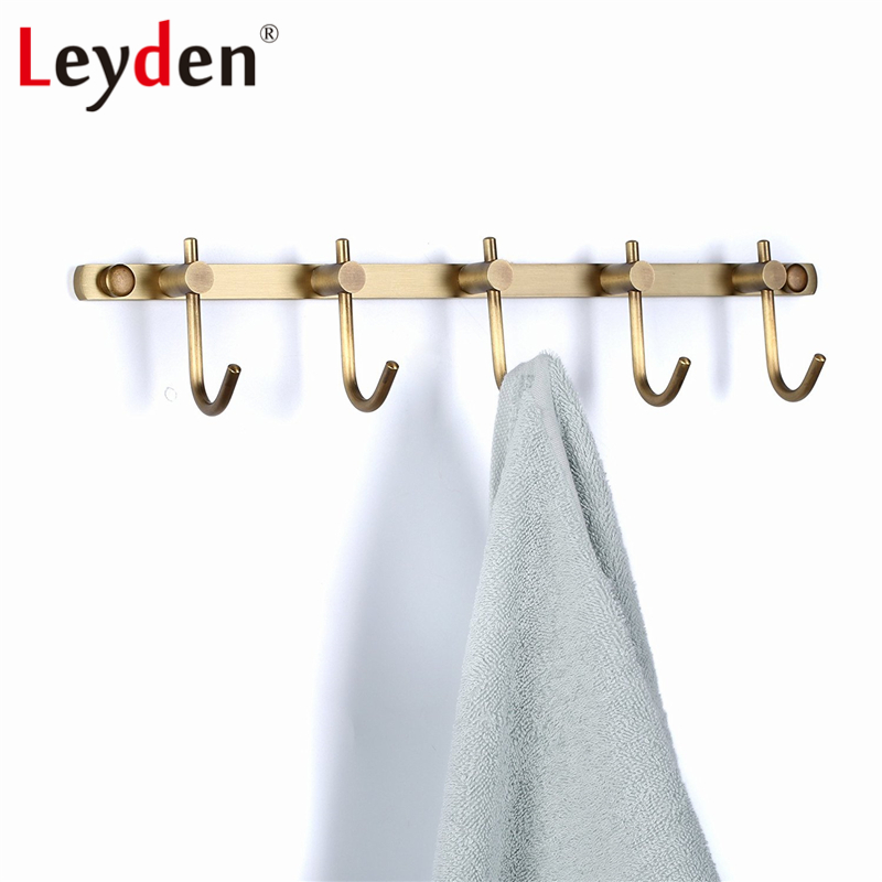 Leyden Coats Hooks Towel Rack Holder Antique Brass Brushed Bronze Wall Mount Classical All Copper Rustic Row Hooks with 5 Hooks