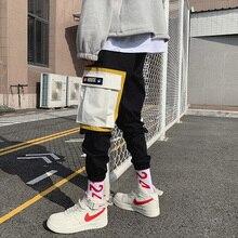 Black Multi Pockets Men's Cargo Pants Spliced Designer Fashion Streetwear Hip Hop Male Cargo Pants Baggy Beige Joggers Homme