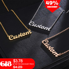 Custom Name Necklace Custom Jewelry Women Gold Stainless Steel Necklaces Pendants Engraved Personalized Jewelry(China)