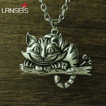 lanseis 1pcs viking cheshire cat women necklace pendant Sweater chain cute cat animal jewelry