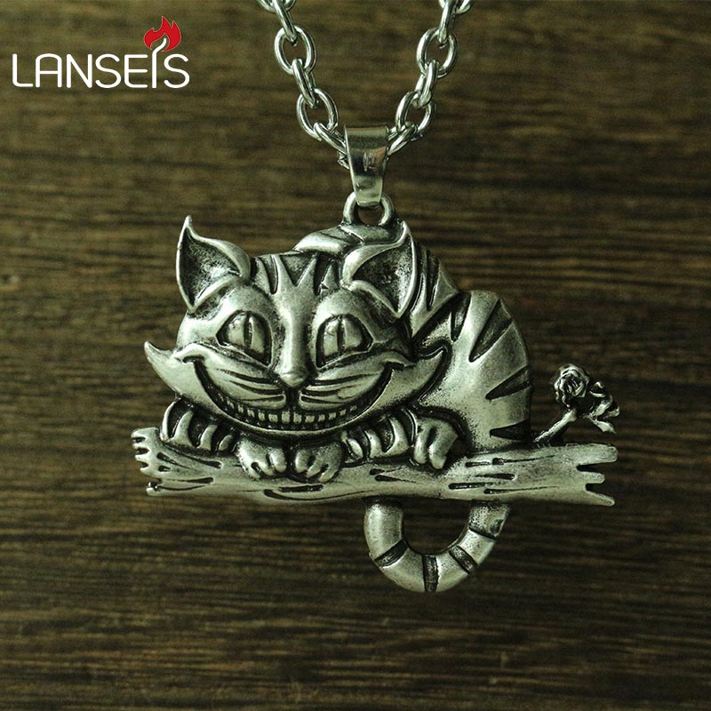 lanseis 1pcs viking cheshire cat women necklace pendant Sweater chain cute cat animal jewelry