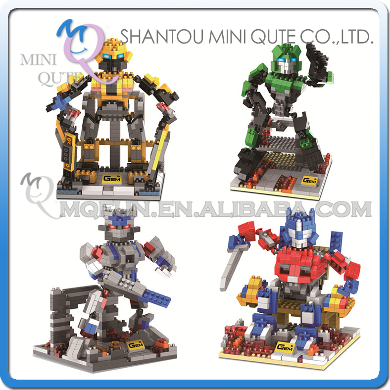 Full Set 4 pcs Mini Qute GEM Super hero robot Bumblebee plastic building blocks bricks cartoon model education educational toy mini qute full set 2 pcs lot hc zootopia huge nick wilde judy hopps plastic building block cartoon model educational toy no 9011