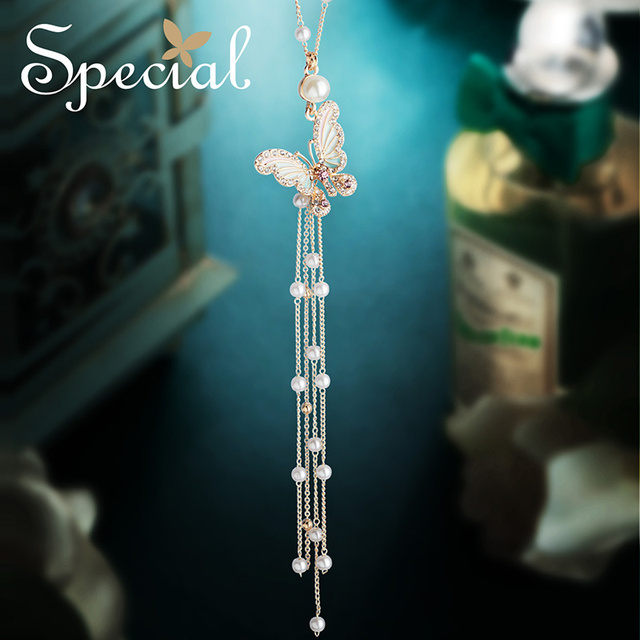 Special European and American retro-long, to be thin , fringed necklaces. female  charming  pendant stealing dream butterfly