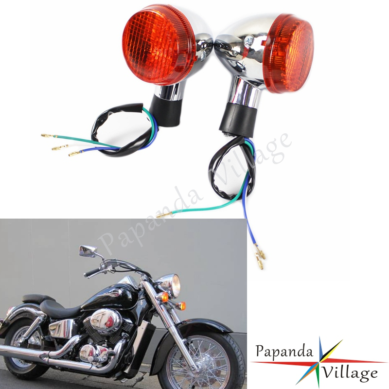 Papanda Motorbike Chrome Front Turn Signal Flash Blinker Lamp for Honda Shadow 400 750 VT750 04-07