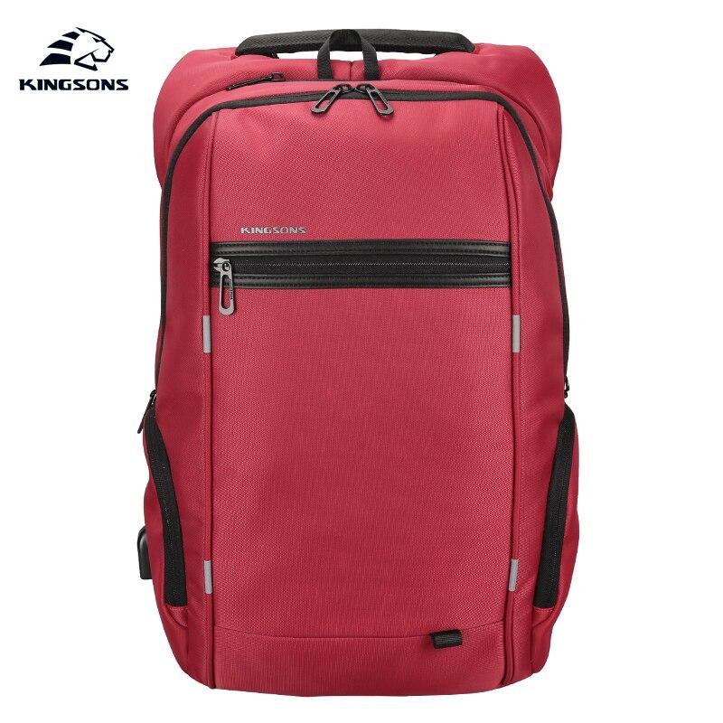 Kingsons KS3144W Red 15.6 inch Women's Laptop Backpack External USB Charge Anti-impact Computer Backpacks Female Waterproof Bags
