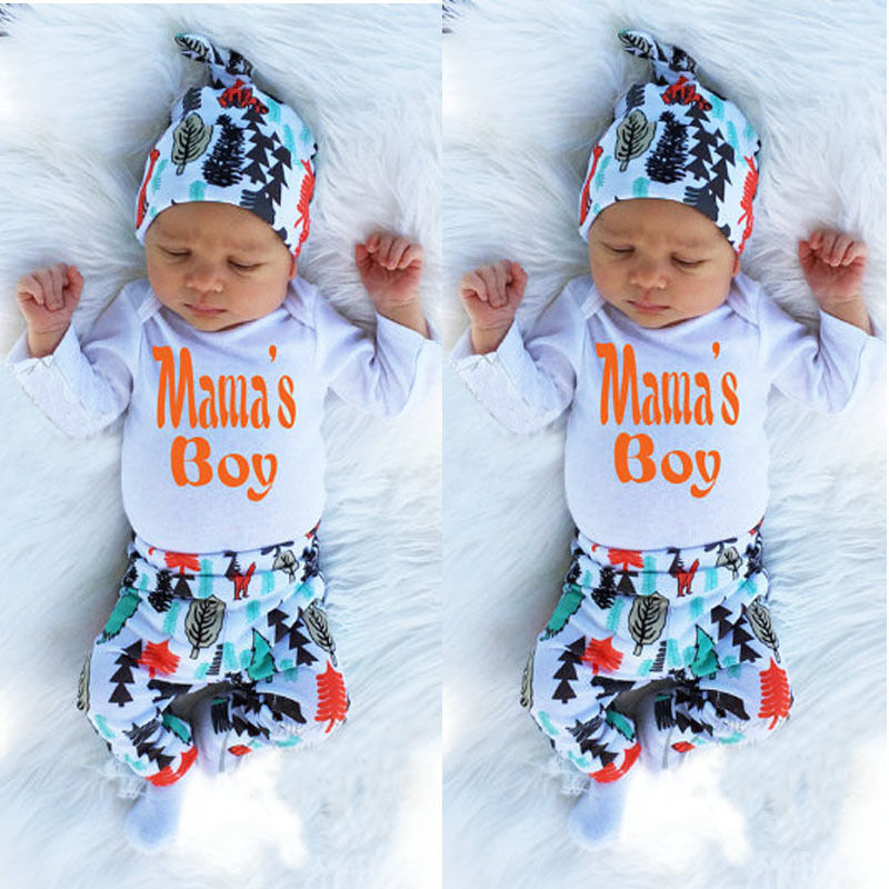 Infant Baby Kids Boys Mama Printed Clothes Newborn Toddler Tops Pants Clothes Baby & Toddler Clothing Outfits & Sets